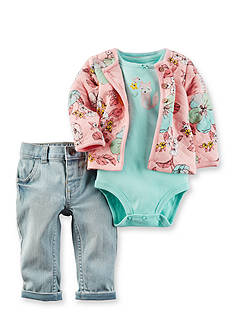 Carter's® 3-Piece Floral Printed Cardigan, Bodysuit and Pant Set Baby/Infant Girl