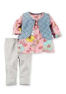 Carter's® 3-Piece Quilted Chambray Vest Set Baby/Infant Girl