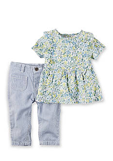Carter's 2-Piece Floral Top and Wide Leg Denim Pants Set
