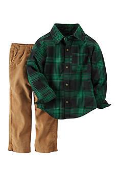 Carter's Green Plaid Shirt Cord Pant
