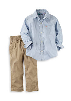 Carter's® 2-Piece Plaid Button-Front and Khaki Pants Set