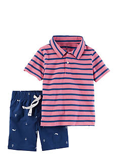 Carter's® 2-Piece Striped Polo & Poplin Short Set
