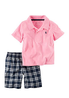Carter's® 2-Piece Neon Polo and Plaid Short Set