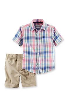 Carter's 2-Piece Plaid Button-Front Shirt and Canvas Short Set
