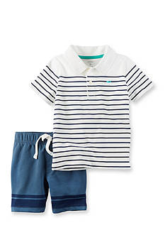 Carter's® 2-Piece Striped Polo and French Terry Shorts Set