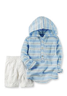 Carter's® Blue Stripe Hooded Shorts Set