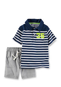 Carter's® 2-Piece Striped Polo & Canvas Short Set