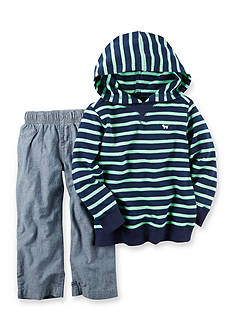Carter's 2-Piece Blue Green Striped Hoodie Set Infant Boys