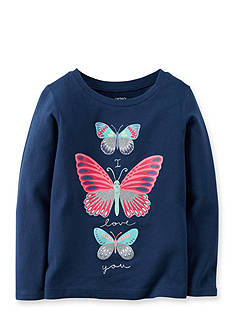 Carter's® Infant Long Sleeve Navy Butterfly Tee
