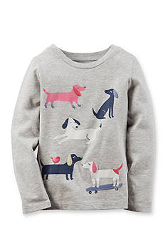 Carter's Infant Long Sleeve Gray Playful Dogs Tee
