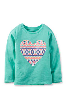 Carter's® Infant Long Sleeve turquoise Aztec Heart Tee