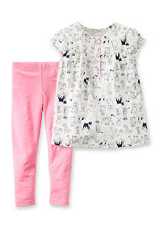 Carter's® 2-Piece Dog Print Tunic Shirt and Pants Set