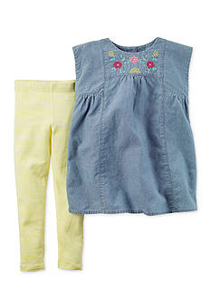 Carter's® 2-Piece Embroidered Chambray Pants Set
