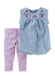 Carter's® 2-Piece Chambray and Purple Capri Set