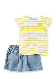 Carter's 2-Piece Striped Top And Chambray Skirt Set
