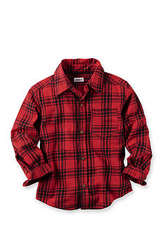 Carter's® Toddler Red Black Plaid Long Sleeve Flannel Button Top