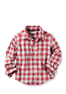 Carter's® Toddler Long Sleeve Red White Plaid Flannel Shirt
