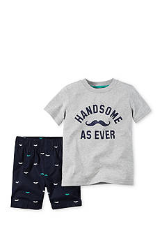 Carter's® 2-Piece Mustache Tee and Short Set Toddler Boys