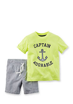 Carter's® 2-Piece 'Captain Adorable' Short Set Toddler Boys