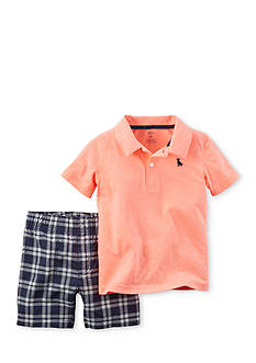 Carter's® 2-Piece Polo Shirt and Plaid Shorts Set Toddler Boys