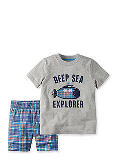 Carter's® 2-Piece 'Deep Sea Explorer' Plaid Shorts Set Toddler Boys
