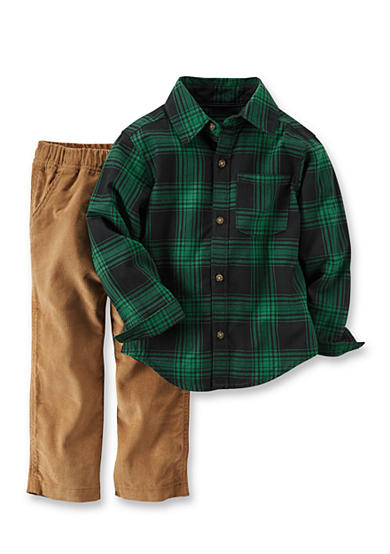 Carter's® Toddler 2-Piece Flannel Button-Front Top & Corduroy Pant Set