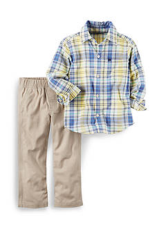 Carter's® 2-Piece Button-Front Top & Canvas Pant Set Toddler Boys