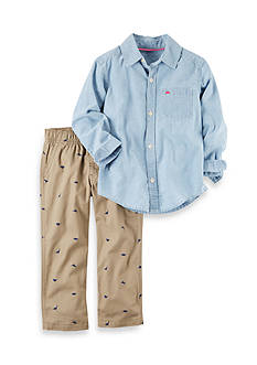 Carter's® 2-Piece Button-Front Chambray Top & Canvas Pant Set Toddler Boys