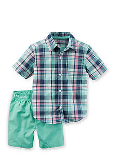Carter's® Two-Piece Button-Front Top and Canvas Short Set Toddler Boys