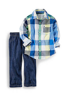 Carter's® 2-Piece Button-Front Top & Denim Pant Set Toddler Boys