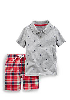 Carter's® 2-Piece Ship Polo & Plaid Short Set Toddler Boys