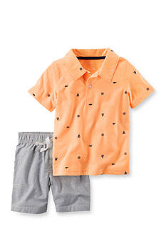 Carter's® 2-Piece Neon Polo & Canvas Short Set Toddler Boys