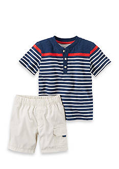 Carter's® 2-Piece Striped Henley & Poplin Cargo Short Set Toddler Boys