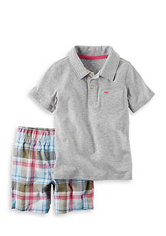 Carter's® 2-Piece Polo & Plaid Short Set Toddler Boys