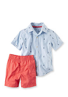 Carter's® 2-Piece Button-Front Shirt & Poplin Short Set Toddler Boys