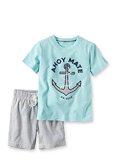 Carter's® 2-Piece Graphic Tee & Striped Short Set Toddler Boys
