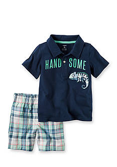 Carter's® 2-Piece Handsome Polo & Plaid Short Set Toddler Boys