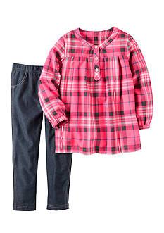 Carter's 2-Piece Neon Flannel & Denim Legging Set Toddler Girls