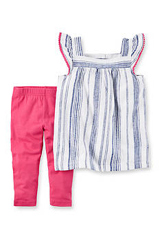 Carter's® 2-Piece Striped Linen Top & Capri Legging Set Toddler Girls
