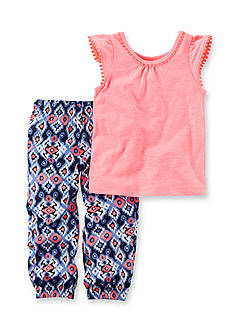 Carter's® 2-Piece Neon Flutter Sleeve Top & Printed Jogger Set Toddler Girls