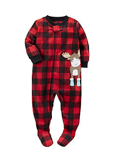 Carter's 1-Piece Red Checkered Moose Sleepwear Infant Boys