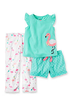 Carter's 3-Piece Flamingo Shirt, Short, and Pant Pajama Set