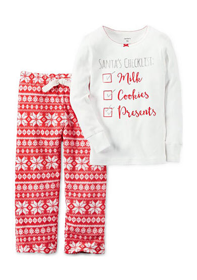 Carter's® 2-Piece Cotton & Fleece Christmas Pajamas