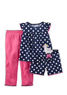 Carter's® 3-Piece Bird Polka Dot Pajama Set Toddler Girls