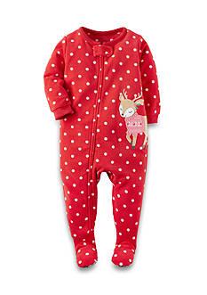 Carter's 1-Piece Polka Dot Deer Fleece Footed Pajamas Toddler Girls