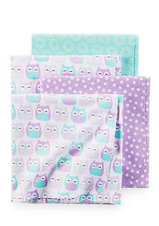 Carter's 4 Pack Purple Owl Blanket Set