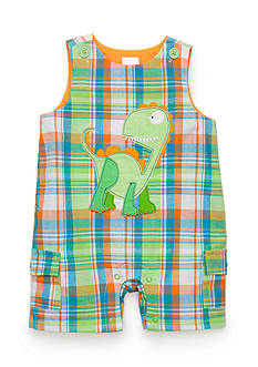 Nursery Rhyme® Plaid Dinosaur Shortalls