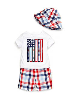 Nursery Rhyme® 3-Piece Flag Tee, Plaid Short, and Hat Set