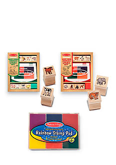 Melissa & Doug® Baby Zoo & Farm Animals with 6 Color Stamp Pad Set