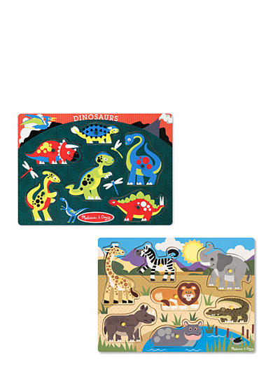 Melissa & Doug® Peg Puzzle Bundle- Safari and Dinosaurs